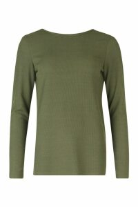 Womens Basic Low Back Scooped Long Sleeve T-Shirt - Green - 12, Green