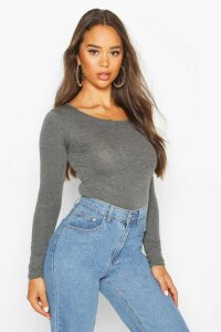 Womens Basic Round Neck Long Sleeve Top - grey - 6, Grey