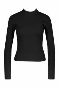 Womens Petite Ribbed Knitted High Neck Jumper - black - M, Black