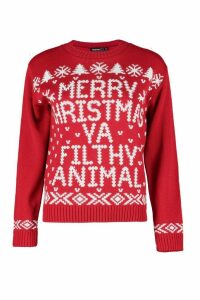 Womens Petite Merry Christmas Ya Filfy Animal Jumper - red - S/M, Red