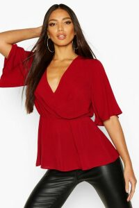 Womens Angel Sleeve Peplum Blouse - Red - 14, Red