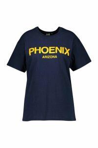 Womens Plus Phoenix Oversized T-Shirt - navy - 16, Navy