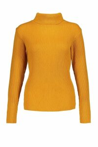 Womens Petite Rib Knit Roll Neck Jumper - Yellow - L, Yellow