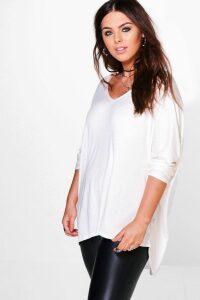 Womens Plus Long Sleeve Basic T-Shirt - White - 20, White