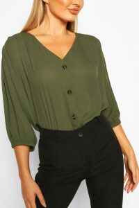 Womens Horn Button Through Blouse - green - 12, Green