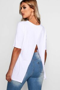 Womens Plus Jersey Split Open Back T-Shirt - White - 20, White