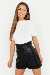 Womens Petite Ribbed Basic T Shirt - white - 8, White
