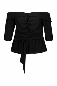 Womens Plus Ruched Off The Shoulder Tie Detail Blouse - black - 24, Black
