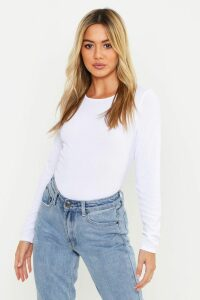 Womens Petite Rib Long Sleeve Basic Top - White - 6, White