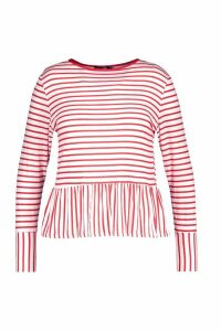 Womens Plus Stripe Longsleeve Smock Top - red - 26, Red