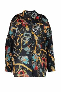 Womens Plus Satin Chain Print Oversized Shirt - black - 26, Black