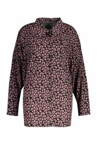 Womens Plus Leopard Oversized Shirt - Pink - 20, Pink
