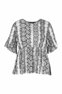 Womens Plus Snake Print Ruffle Sleeve Smock Top - white - 20, White