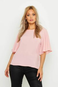 Womens Plus Angel Sleeve Fit & Flare Top - pink - 26, Pink