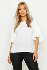 Womens Plus Angel Sleeve Fit & Flare Top - White - 16, White