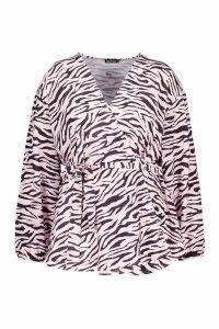 Womens Plus Pastel Zebra Woven Wrap Top - Pink - 16, Pink