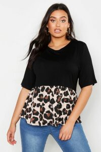 Womens Plus Contrast Leopard Smock Top - black - 20, Black