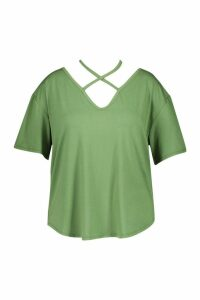 Womens Plus Premium Strap Front T-Shirt - green - 20, Green