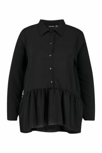 Womens Plus Peplum Hem Shirt - black - 24, Black