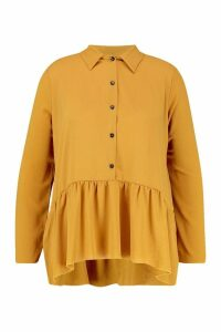 Womens Plus Peplum Hem Shirt - yellow - 24, Yellow