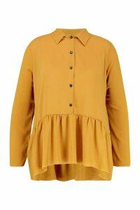 Womens Plus Peplum Hem Shirt - yellow - 24, Yellow