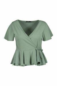 Womens Plus Rib Wrap Cap Sleeve Peplum Top - Green - 20, Green