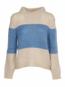 SEMICOUTURE Cream And Light Blue Sweater