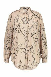 Womens Plus Line Drawing Utility Shirt - beige - 20, Beige