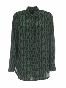 Calvin Klein Relaxed Green Silk Shirt