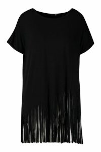 Womens Plus Tassel Beach Top - black - 26, Black