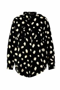 Womens Plus Smudge Spot Print Oversized Utility Shirt - black - 16, Black