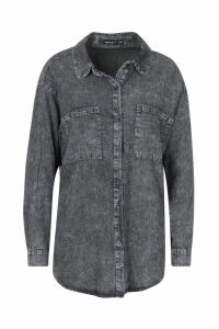 Womens Petite Acid Wash Oversized Denim Shirt - grey - M/L, Grey