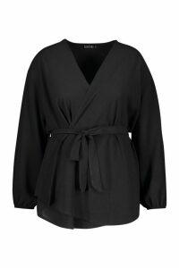 Womens Plus Pastel Woven Wrap Top - black - 18, Black