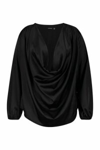Womens Plus Satin Cowl Long Sleeve Blouse - black - 20, Black
