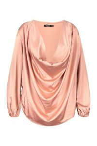 Womens Plus Satin Cowl Long Sleeve Blouse - pink - 18, Pink
