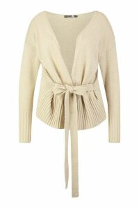 Womens Plus Wrap Detail Peplum Cardigan - Beige - 24, Beige