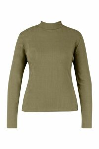 Womens Plus Rib Knit Roll/Polo Neck Jumper - Green - 18, Green