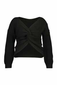 Womens Plus Twist Front Knitted Jumper - black - 22, Black