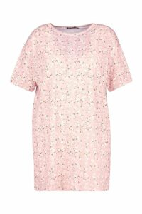 Womens Plus Floral Ditsy T-Shirt Dress - Pink - 18, Pink