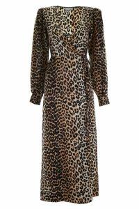 Ganni Leopard-printed Wrap Dress