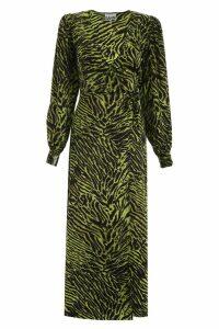 Ganni Zebra-printed Wrap Dress