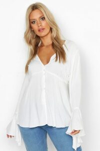 Womens Plus Button Detail Plunge Flare Sleeve Blouse - white - 16, White