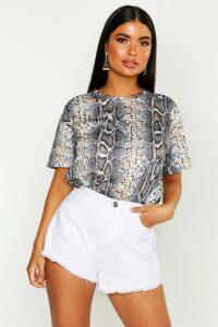 Womens Petite Tonal Snake Print T-Shirt - Brown - 10, Brown