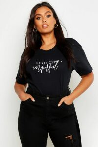 Womens Plus Perfectly Imperfect Slogan T-Shirt - black - 26, Black