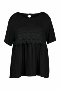 Womens Plus Crochet Lace Trim Smock Top - black - 16, Black