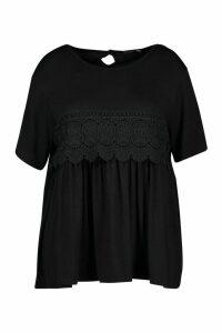 Womens Plus Crochet Lace Trim Smock Top - black - 20, Black