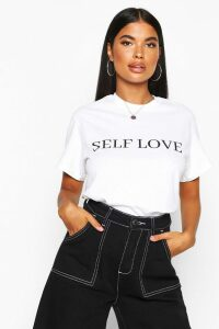 Womens Petite 'Self Love' Slogan T-Shirt - White - L, White
