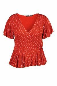 Womens Plus Polka Dot Wrap Peplum Top - Orange - 26, Orange
