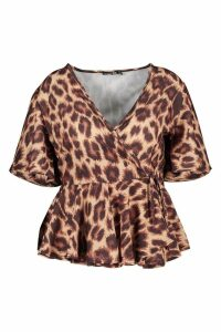 Womens Plus Leopard Woven Wrap Peplum Top - brown - 20, Brown