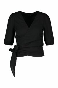 Womens Petite Wrap Detail Woven Blouse - black - 4, Black